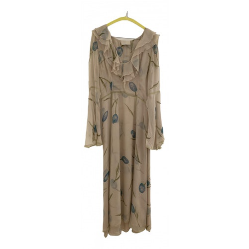 Luisa Beccaria Beige Silk Dress