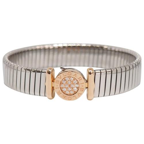 Bvlgari Tubogas Pink Gold And Steel Bracelet