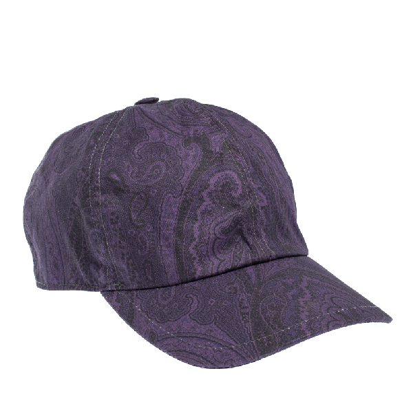 Etro Purple Paisley Printed Cotton Baseball Cap L