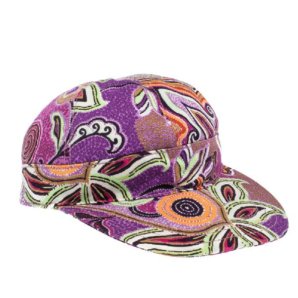 Etro Fuschia Paisley Printed Cotton Cap M In Purple