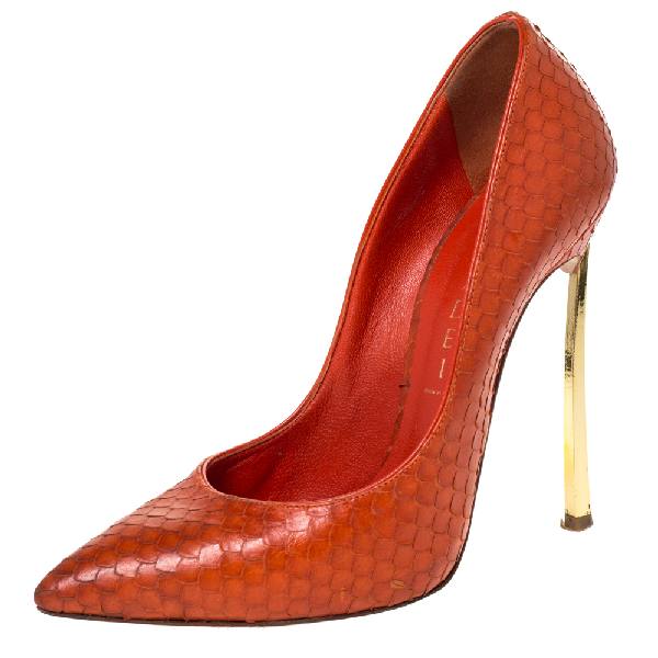 Casadei Orange Python Embossed Leather Pointed Toe Pumps Size 36