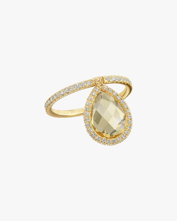 Nina Runsdorf Medium Citrine Flip Ring In Yellow