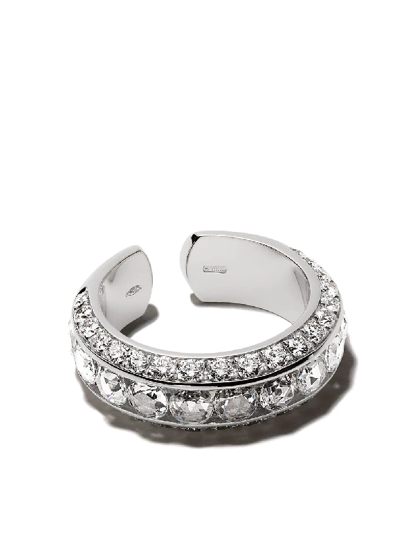 David Morris 18kt White Gold Pearl Rose Cut Ring