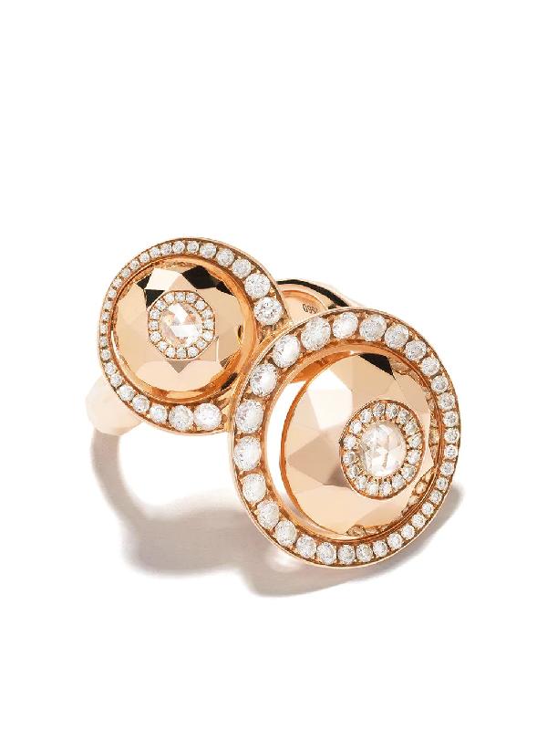 David Morris 18kt Rose Gold Diamond Cut Forever Double Disc Ring