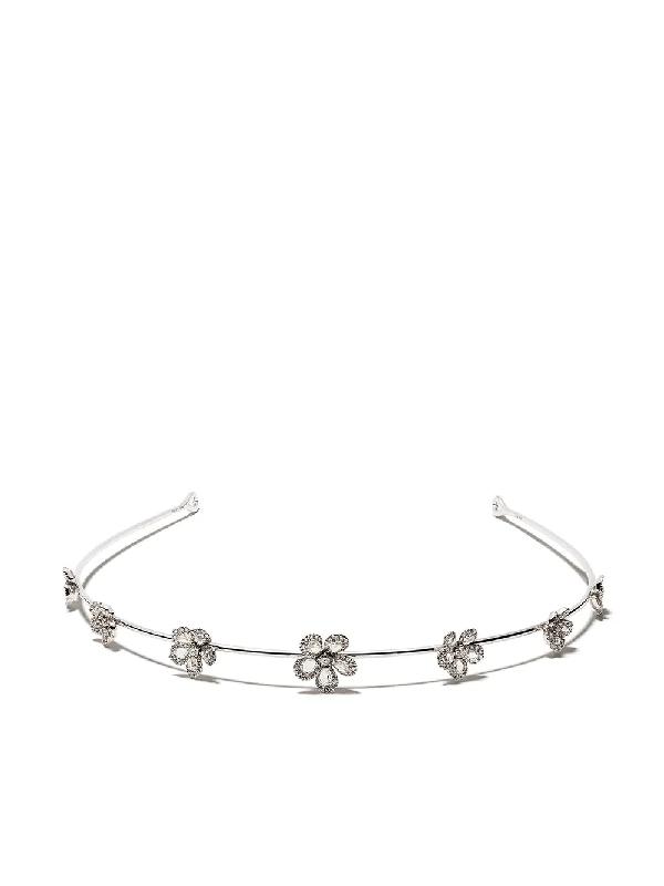 David Morris 18kt White Gold Diamond Miss Daisy Flower Tiara