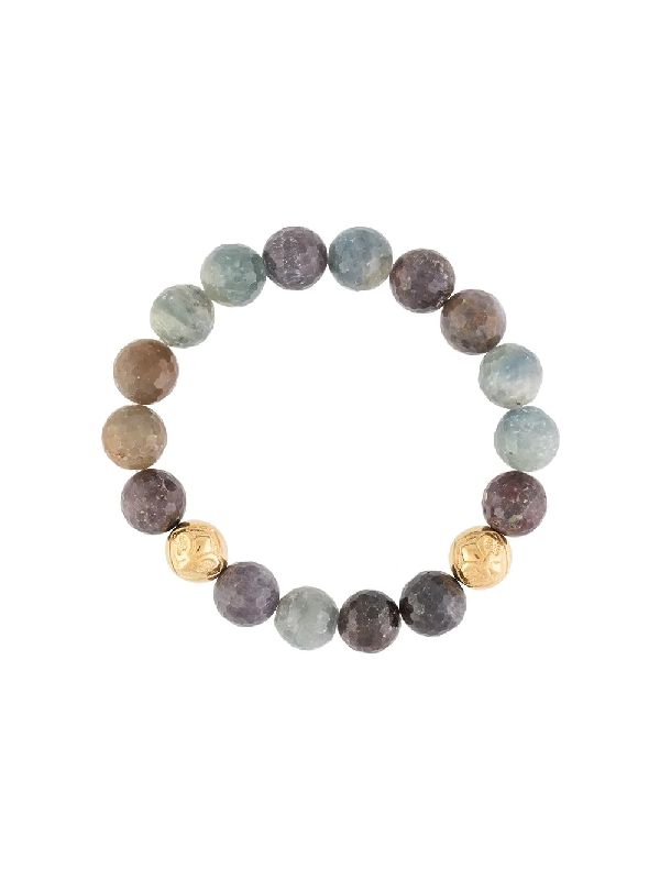Nialaya Jewelry Sculpted Sapphire Bead Bracelet In Multicolour