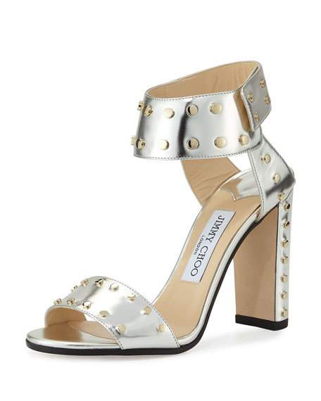 5e2fd0d86a1 Jimmy Choo Veto 100 Silver Mirror Leather Sandals With Gold Studs In Silver  Gold