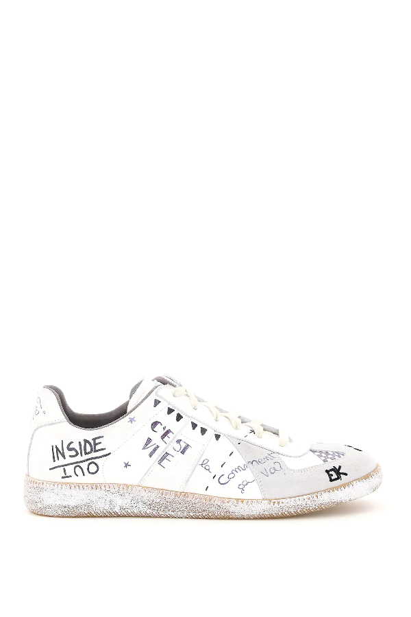 Maison Margiela Replica Sneakers In Vintage Effect Leather With Graffiti Motif In White