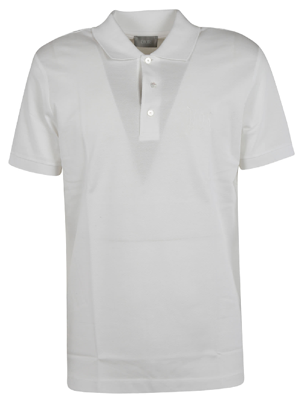Dior Patched Polo Shirt In White