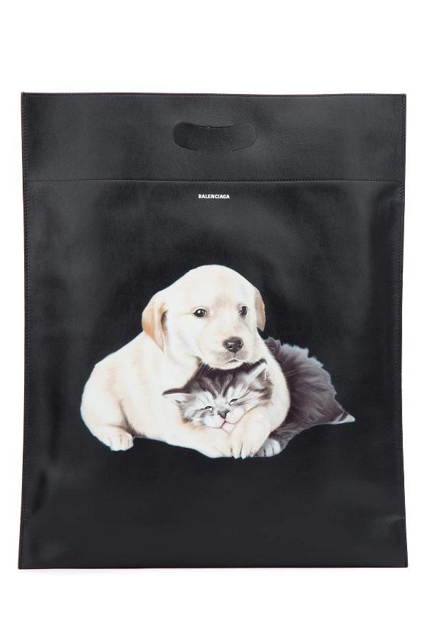 Balenciaga Puppy And Kitten Plastic Bag Shopper M In Black