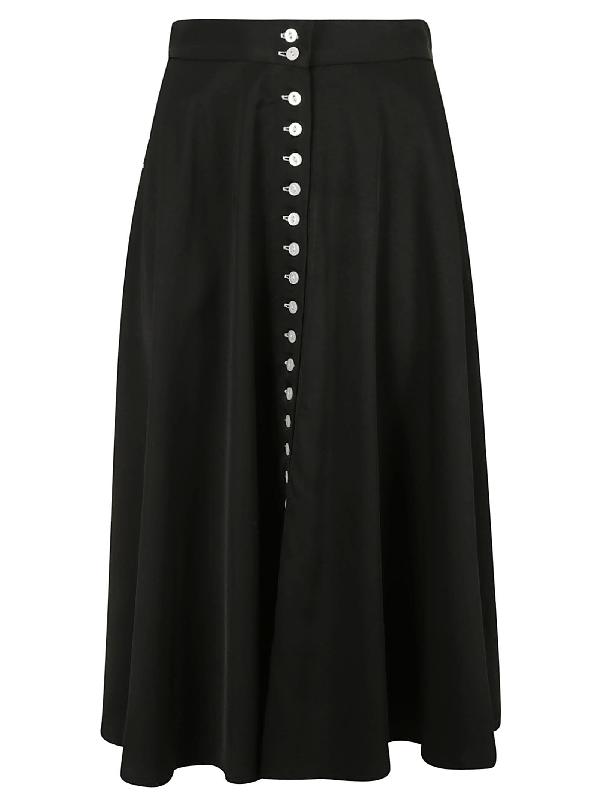 Les Coyotes De Paris Long-buttoned Skirt In Black