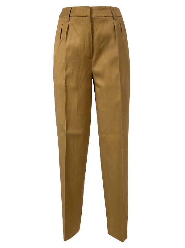 Les Coyotes De Paris Classic Waist Fit Trousers In Brown