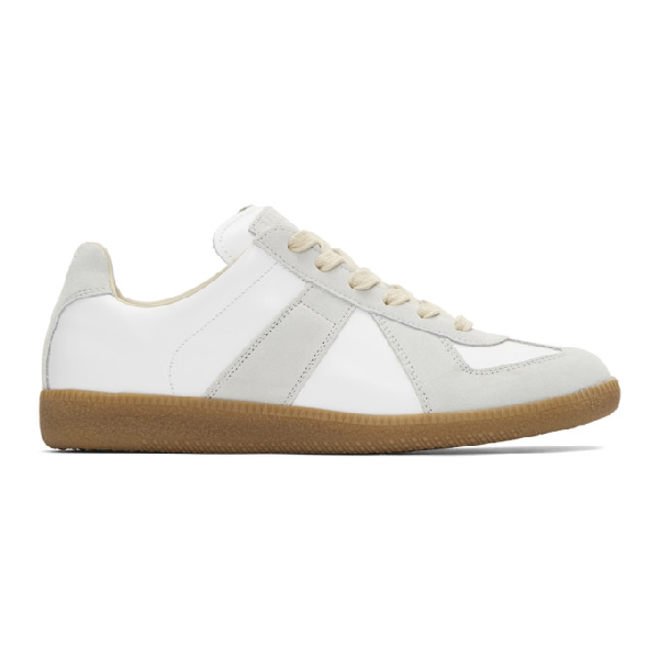 Maison Margiela Replica Suede-paneled Leather Low-top Sneakers In 101 Offwht