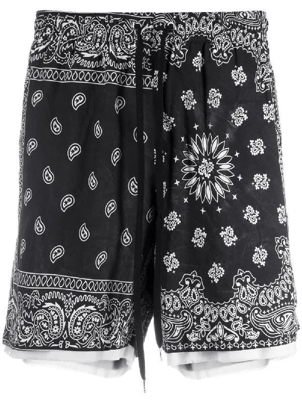 Children Of The Discordance Bandana Camouflage Print Shorts In Black
