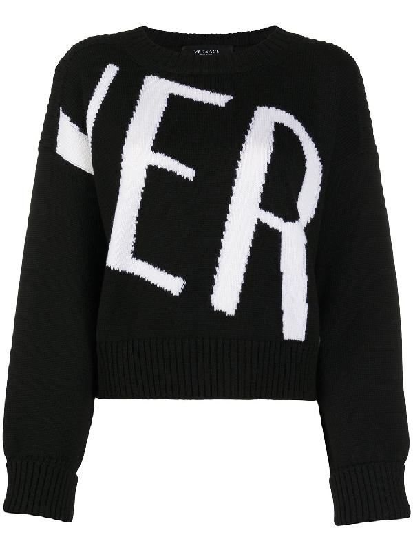 Versace Intarsia Logo Wool Crop Sweater In Black