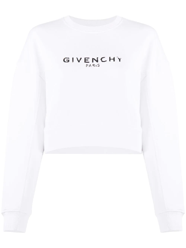 Givenchy Oversized Distressed-logo Cotton-jersey Sweatshirt In 100 White