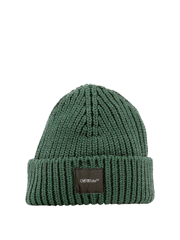 Off-white Logo-patch Ribbed Beanie In Green