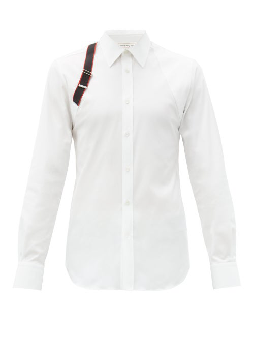 Alexander Mcqueen Logo Tape Harness Stretch-cotton Shirt In White