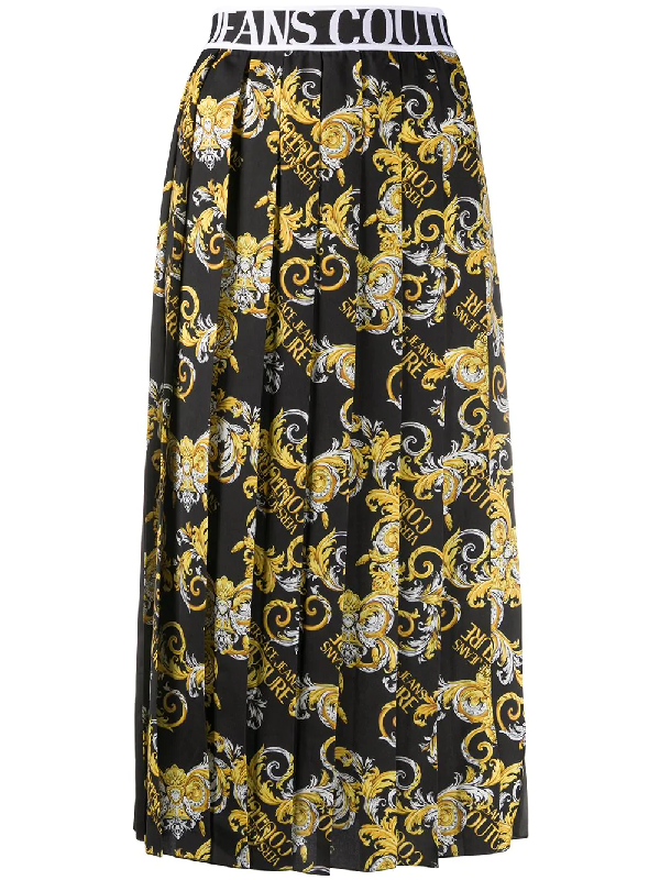 Versace Jeans Couture Longuette Pleated Skirt Baroque Printing In Black