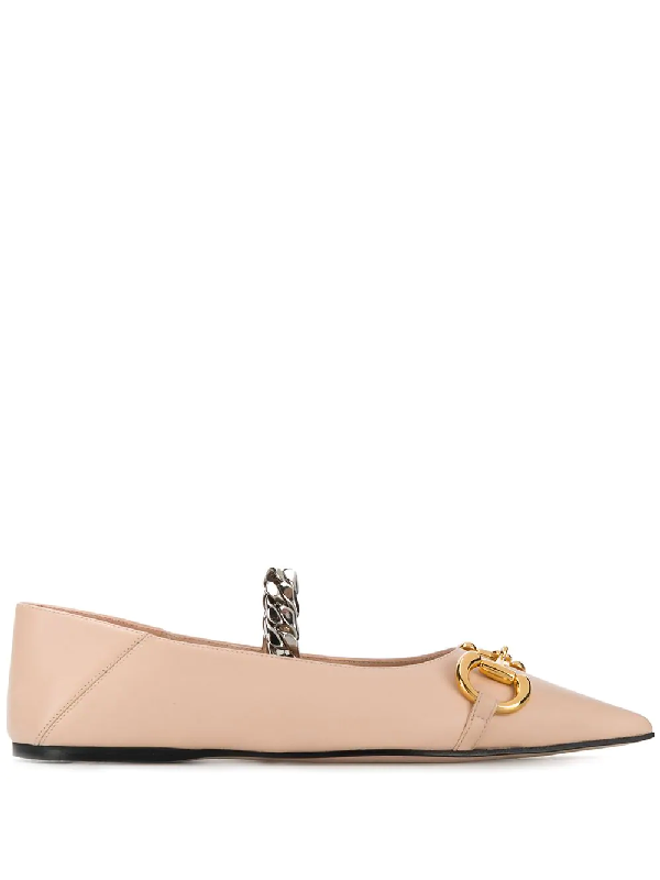 Gucci Horsebit Detail Ballerina Shoes In Neutrals