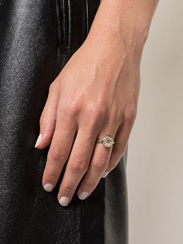 Werkstatt:münchen Ring Mit Zifferblatt In Silver