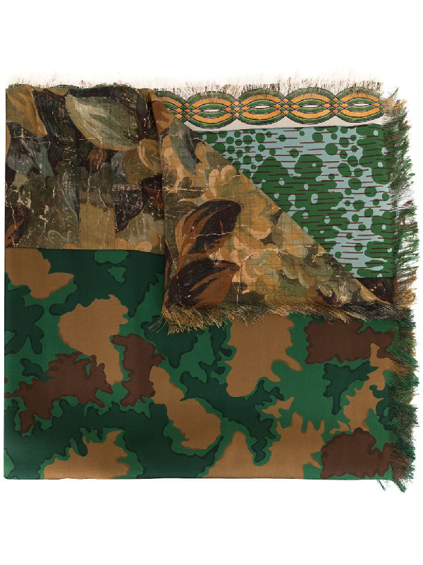Pierre-louis Mascia Aloeuw Reversible Silk Scarf In Green