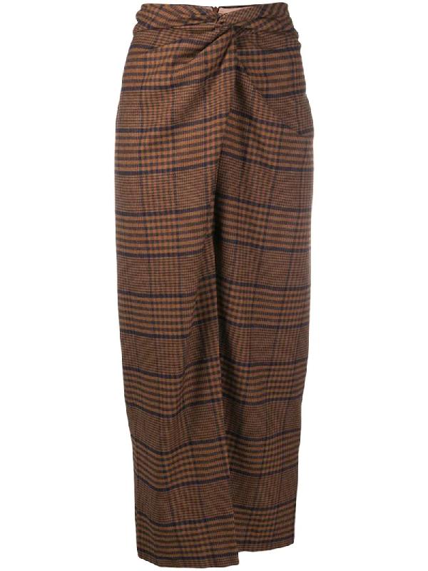 Nanushka Tie-knot Skirt In Brown