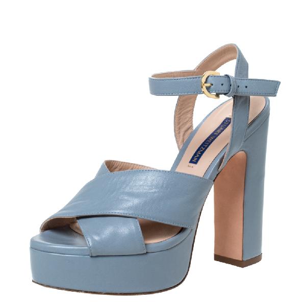 Stuart Weitzman Grey Leather Joni Platform Ankle Strap Sandals Size 38