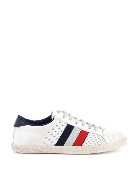 Moncler Low-top Sneakers Ryegrass Calfskin Used White In Green