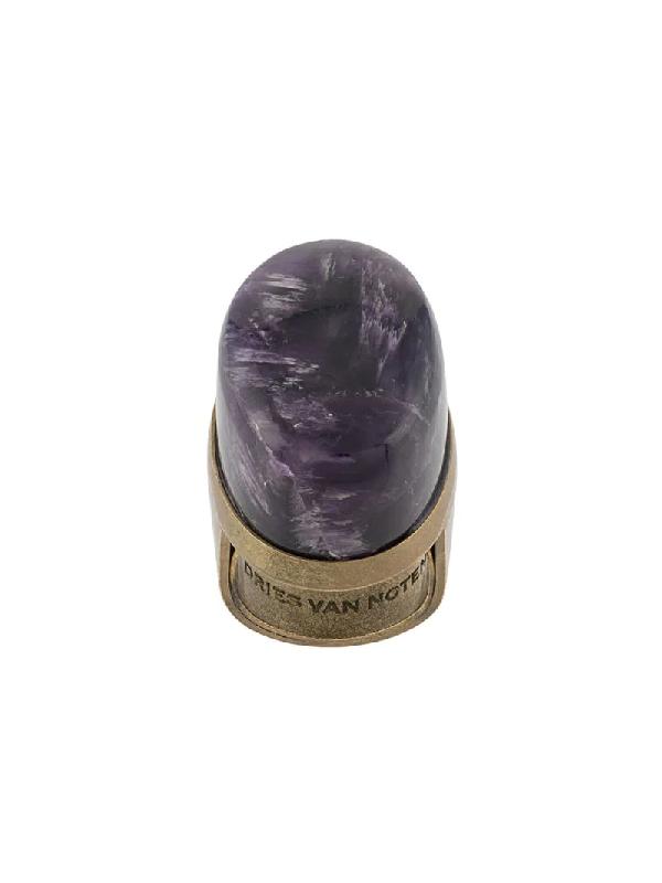 Dries Van Noten 2010 Amethyst-embellished Ring In Purple