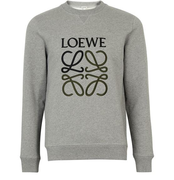 Loewe Logo-embroidered Loopback Cotton-jersey Sweatshirt In Grey