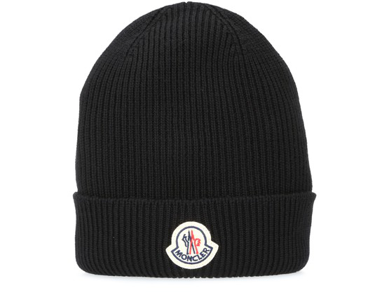 Moncler Logo-patch Ribbed Wool Beanie Hat In 742