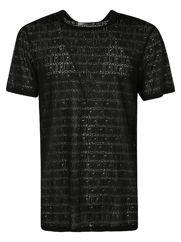 Dior Logo All-over T-shirt In Black