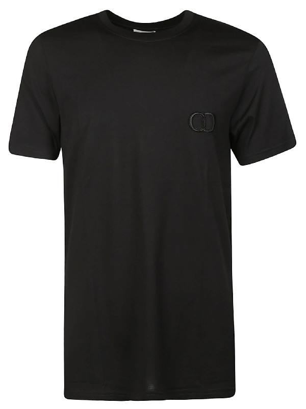 Dior Embroidered Logo T-shirt In Black
