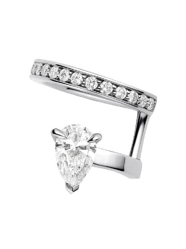 Repossi 18kt White Gold Serti Sur Vide Diamond Earcuff In Silver