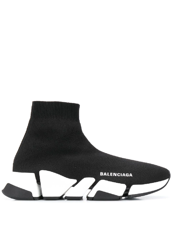 Balenciaga Navy Blue Speed Sock Sneakers In Black