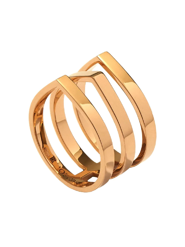 Repossi 18kt Rose Gold Antifer Three Row Ring