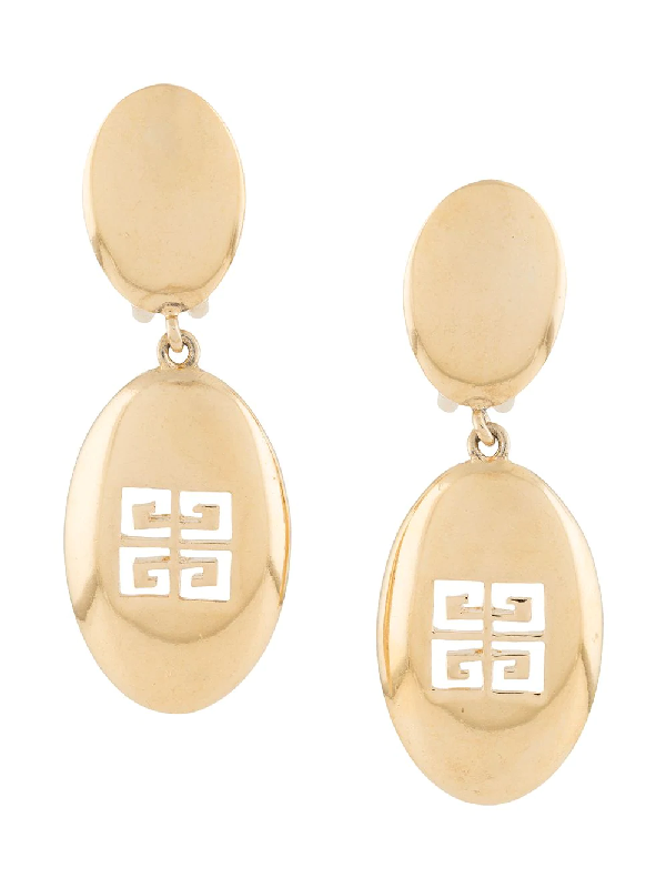 Givenchy 1980s Logo Cut-out Earrings In Gold