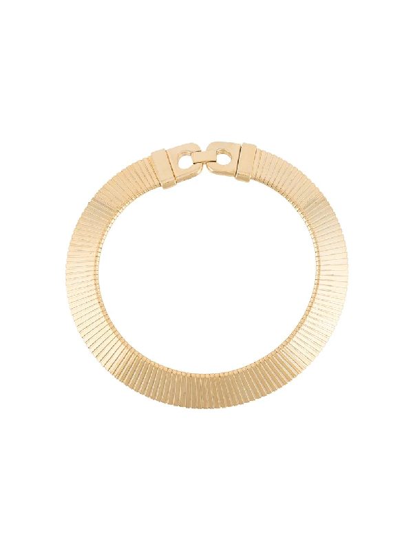Givenchy 1982 Engraved Collar Necklace In Gold