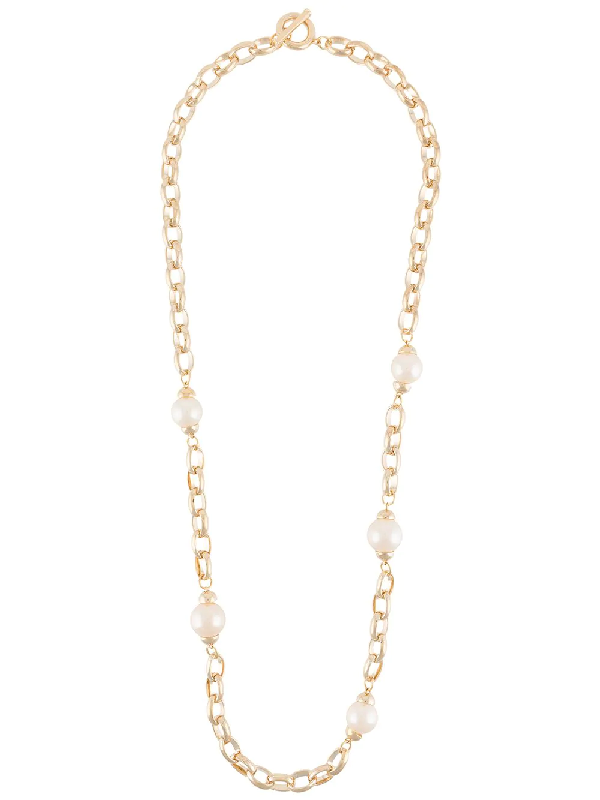 Givenchy 1980s Faux Pearl-embellished Necklace In Gold