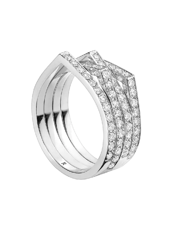Repossi 18kt White Gold Antifer Diamond Ring In Silver