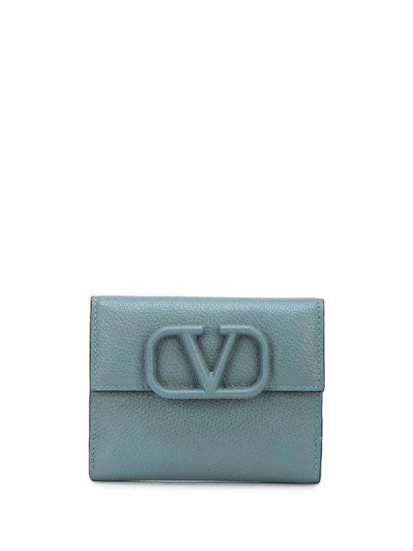 Valentino Garavani Calf Leather Vlogo Detail Wallet In Blue