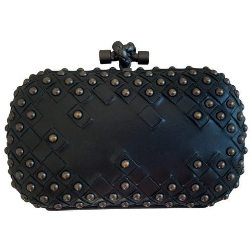 Bottega Veneta Pochette Knot Black Leather Clutch Bag