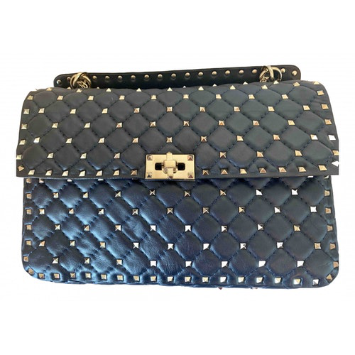 Valentino Garavani Rockstud Spike Navy Leather Handbag