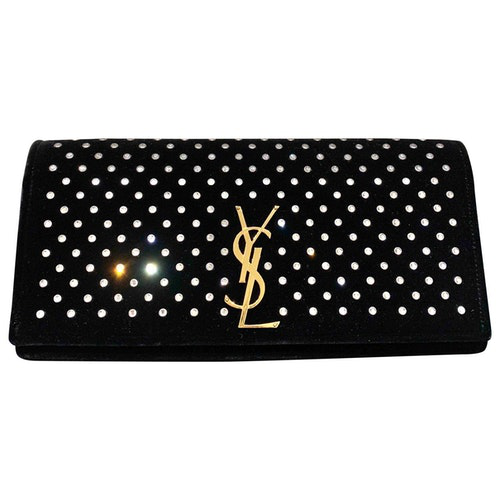 Saint Laurent Kate Monogramme Black Velvet Clutch Bag