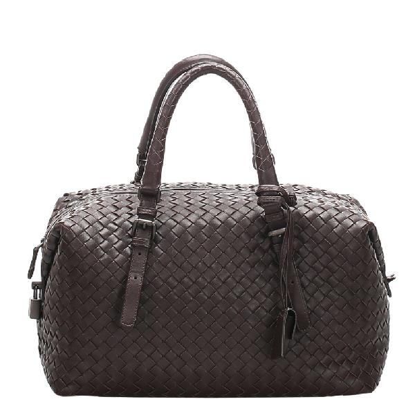 Bottega Veneta Black Intrecciato Leather Bowling Bag In Brown