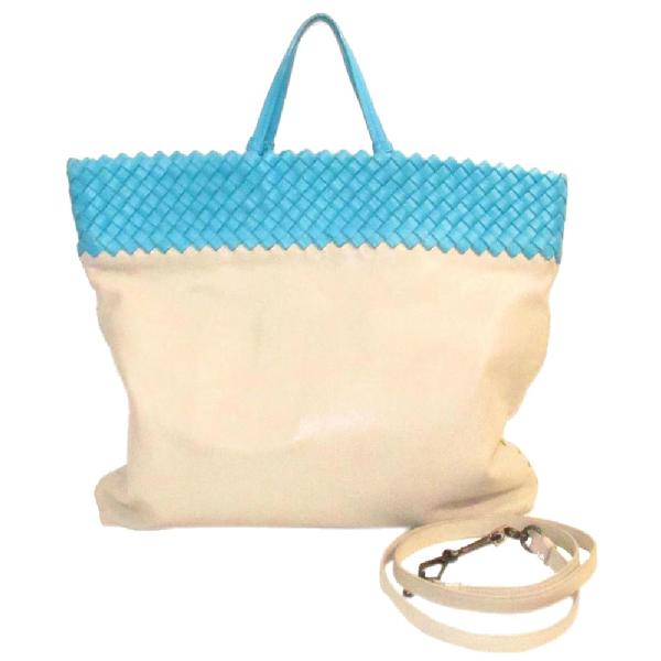 Bottega Veneta Ivory/light Blue Intrecciato Leather Tote Bag
