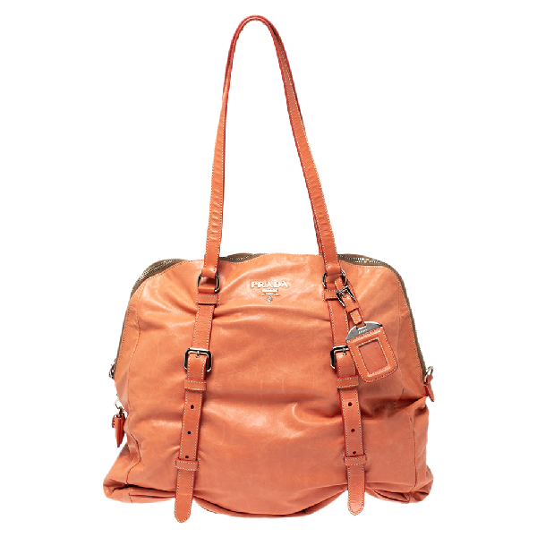 Prada Pomelo Leather New Look Satchel In Orange