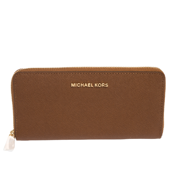 Michael Kors Brown Leather Jet Set Travel Continental Wallet