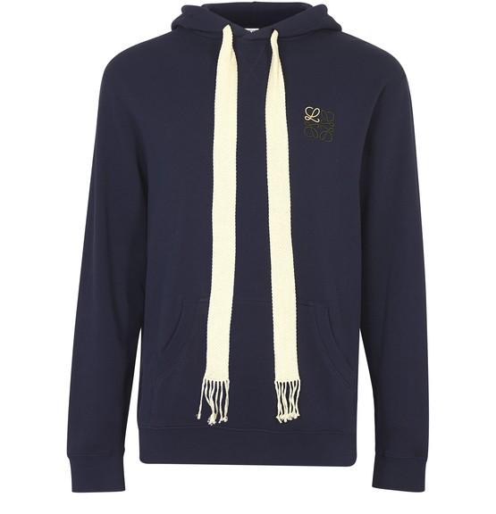 Loewe Anagram-embroidered Cotton Hooded Sweatshirt In Blue